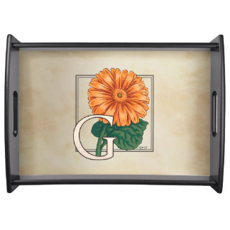 Orange Gerberas Floral Monogram Service Trays