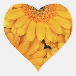 Orange Gerberas Heart Sticker