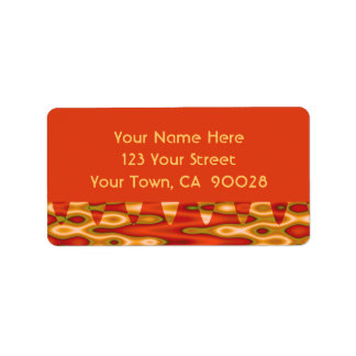 orange gold abstract address label
