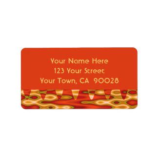 orange gold abstract address label