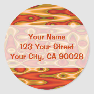 orange gold abstract classic round sticker