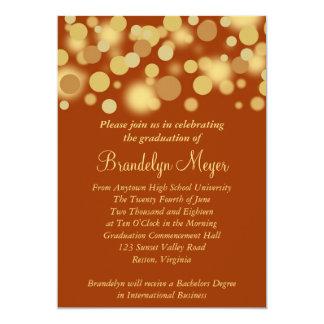 "Orange Gold Celebration Graduation Announcement 5"" X 7"" Invitation Card"