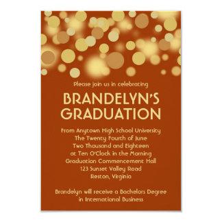 "Orange Gold Celebration Graduation Announcement 3.5"" X 5"" Invitation Card"