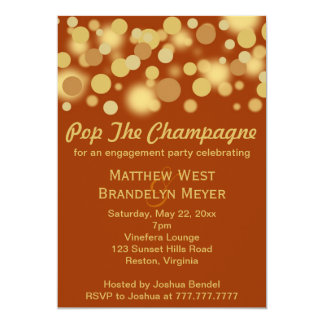 Orange Gold Champagne Bubbles Engagement Party 5x7 Paper Invitation Card
