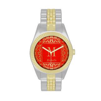 Orange & Gold Monogrammed Chic Damask Swirl Watch