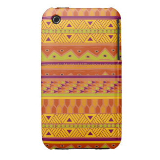 Orange Green Abstract Aztec Tribal Print Pattern Case-Mate iPhone 3 Cases