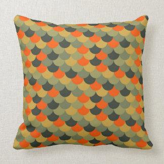 Orange & Green Fish Scale Pattern Throw Pillow