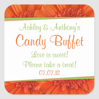Orange Green Gerbera Daisy Candy Buffet stickers