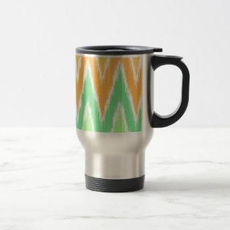 Orange Green Ikat Chevron Zig Zag Stripes Pattern Coffee Mugs