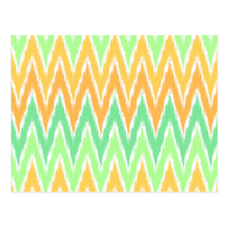 Orange Green Ikat Chevron Zig Zag Stripes Pattern Postcard