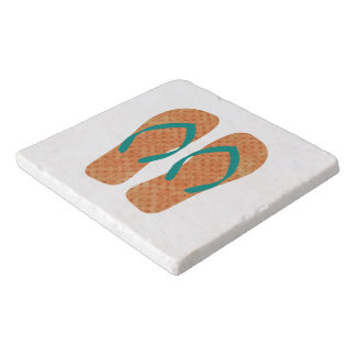 Orange Green Summer Beach Flip Flops Trivet