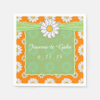 Orange Green White Daisy Floral Wedding Napkins Paper Napkins
