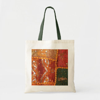 Orange-green with gold sparkles budget tote bag