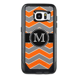 Orange, Grey, Black Chevron, Monogrammed