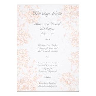 Orange Grey Floral Vintage Wedding Menu 5x7 Paper Invitation Card