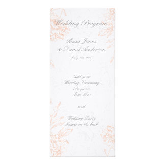 Orange Grey Floral Vintage Wedding Program 4x9.25 Paper Invitation Card