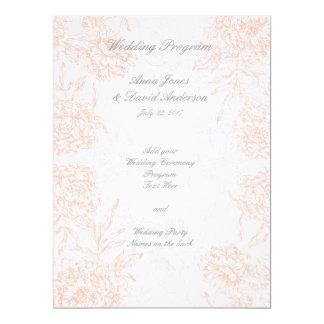 Orange Grey Floral Vintage Wedding Program 6.5x8.75 Paper Invitation Card