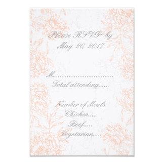Orange Grey Floral Vintage Wedding RSVP 3.5x5 Paper Invitation Card