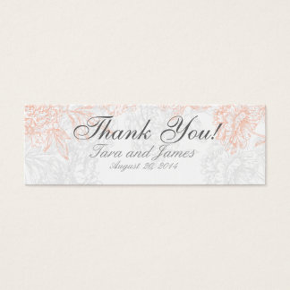 Orange Grey Vintage Floral Wedding Favor Tags Mini Business Card