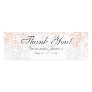 Orange Grey Vintage Floral Wedding Favor Tags Pack Of Skinny Business Cards