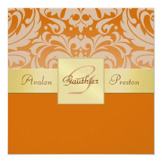 "Orange Half Damask Monogram Gold Ribbon Invitation 5.25"" Square Invitation Card"