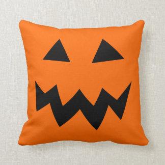 Orange Halloween pumpkin head face throw pillow