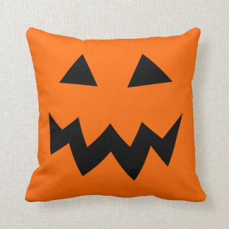 Orange Halloween pumpkin head face throw pillow Cushions