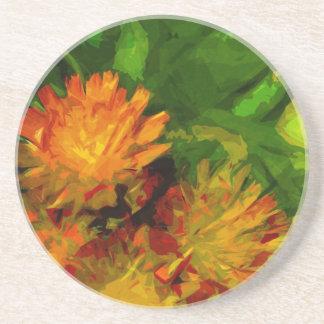 Orange Hawkweed Blossoms Abstract Impressionism Coaster