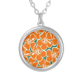 Orange Hibiscus Flowers Tropical Hawaiian Luau Silver Plated Necklace