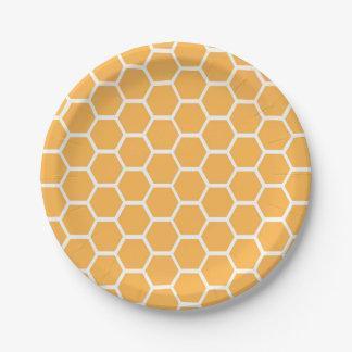 Orange honeycomb pattern paper plate