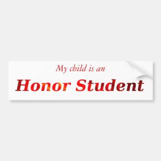 Orange Honor Student Bumper Sticker