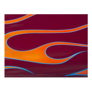 orange hotrod flames on burgundy postcard
