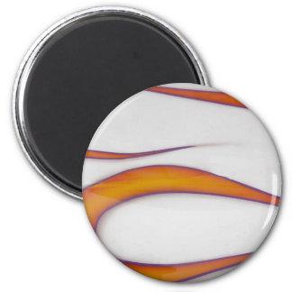 orange hotrod flames on white 6 cm round magnet