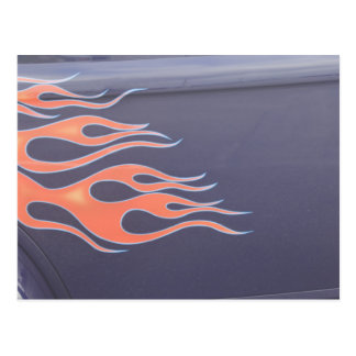 orange hotrod flames postcard