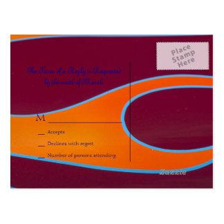 Orange Hotrod flames RSVP postcard