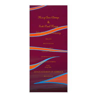Orange  Hotrod flames wedding program 10 Cm X 24 Cm Invitation Card