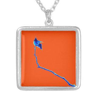 Orange Hummingbird on Branch #2 Square Pendant Necklace
