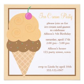 Orange Ice Cream Cone Personalized Invitation