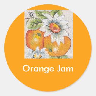 orange jam classic round sticker