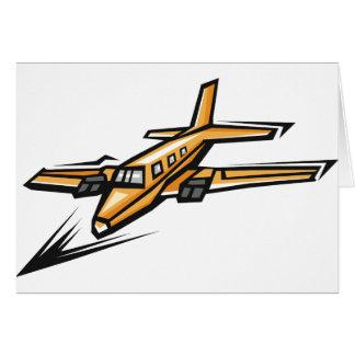 Orange Jet Plane Greeting Cards