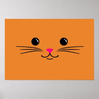 Orange Kitty Cat Cute Animal Face Design Poster