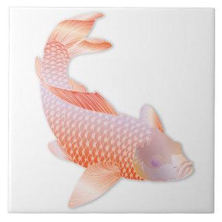 Orange Koi Fish Trivet Large Square Tile