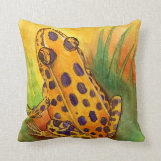 Orange Leopard Frog Throw Pillow