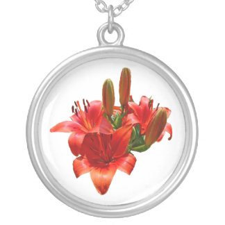 Orange Lily Blossoms Round Pendant Necklace