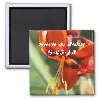 Orange Lily Flower Wedding Favor Magnet