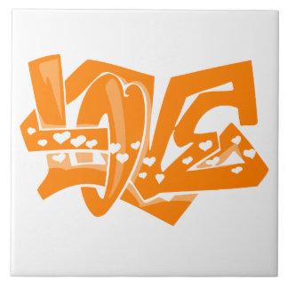 Orange Love Graffiti Tile
