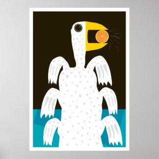 ORANGE loving bird Poster