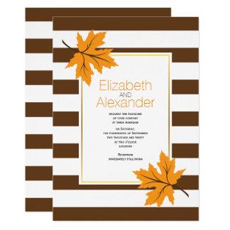 Orange maple leaves and brown stripes fall wedding 13 cm x 18 cm invitation card