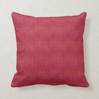 Orange Micro Dots on Grunge Red Throw Pillow