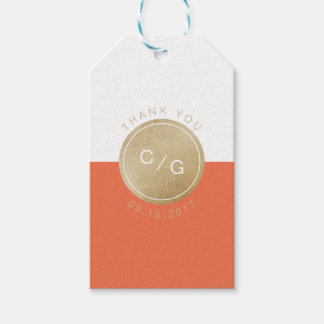 Orange minimalist modern wedding monogram thanks